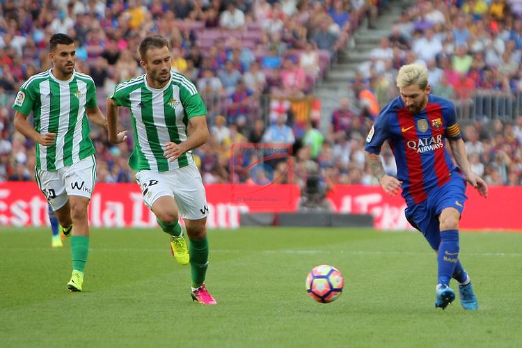 League Santander 2016/2017. Game: 1.<br /> FC Barcelona vs Real Betis: 6-2.<br /> Pezzela vs Lionel Messi.