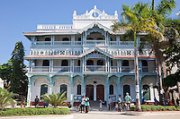Stone Town, Zanzibar, Tanzania.  The Old Dispensary, or Ithnasheri Dispensary.  Originally built in the 1890s, renovated 1995.  Now houses Stone Town Cultural centre.  The decorative balconies are representative of a south-Asian style of architecture.