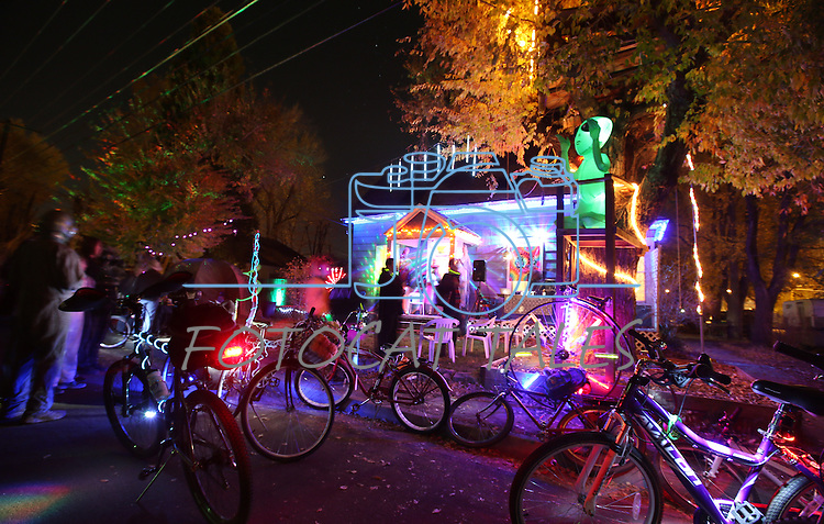 Several dozen people rode in the Blinky Man Halloween bike ride around the west side of Carson City, Nev., on Wednesday, Oct. 31, 2013.<br /> Photo by Cathleen Allison/Nevada Photo Source