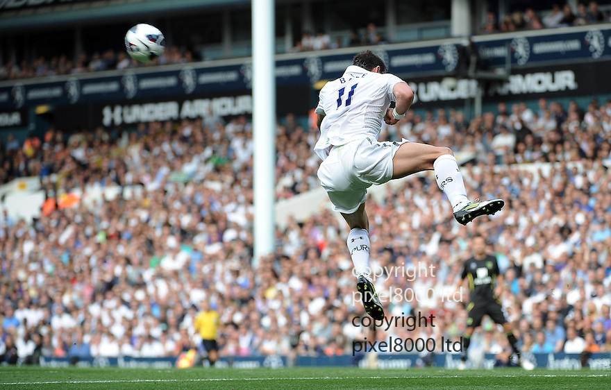 Gareth Bale of Tottenham Hotspur in action during the Barclays Premier League match between Tottenham Hotspur and Norwich City at White Hart Lane on September 1, 2012 in London, England. Picture Zed Jameson/pixel 8000 ltd.