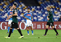 1st December 2019; Stadio San Paolo, Naples, Campania, Italy; Serie A Football, Napoli versus Bologna; Bologna players celebrate their goal as Lorenzo Insigne of Napoli looks on dejectedly - Editorial Use