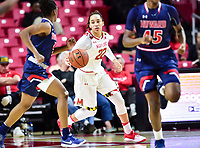 College Park, MD - NOV 21, 2017: Maryland Terrapins guard Blair Watson (22) brings the ball up court during game between the Howard Lady Bison and the Maryland Terrapins at the XFINITY Center in College Park, MD.  (Photo by Phil Peters/Media Images International)