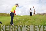 Kerry Boys Co Championship at Ballybunnion Golf Club on Friday 16 July. Brody Gallagher Killarney is watched by . Jamie O'Connor Abbeyfeale, Adam Leahy Tralee (L_R)
