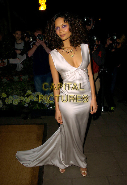 THANDIE NEWTON.Lavender Trust Party, Claridge's Hotel, London, UK..March 14th, 2007.full length white satin dress sleeveless .CAP/CAN.©Can Nguyen/Capital Pictures