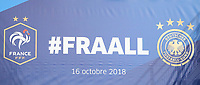 Banner mit Twitter-Hashtag im Innenraum- 16.10.2018: Frankreich vs. Deutschland, 4. Spieltag UEFA Nations League, Stade de France, DISCLAIMER: DFB regulations prohibit any use of photographs as image sequences and/or quasi-video.