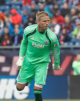 Vancouver Whitecaps FC goalkeeper David Ousted (1). In a Major League Soccer (MLS) match, the New England Revolution (blue/white) tied Vancouver Whitecaps FC (white), 0-0, at Gillette Stadium on March 22, 2014.