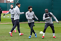 10th March 2020; Anfield, Liverpool, Merseyside, England; UEFA Champions League, Liverpool versus Atletico Madrid, Liverpool training;  Mohamed Salah of Liverpool with Sadio Mane and Virgil van Dijk during today's open training session at Melwood ahead of tomorrow's Champions League match against Atletico Madrid