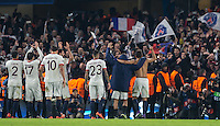 PSG Players celebrate with supporters on the final whistle during the UEFA Champions League Round of 16 2nd leg match between Chelsea and PSG at Stamford Bridge, London, England on 9 March 2016. Photo by Andy Rowland.