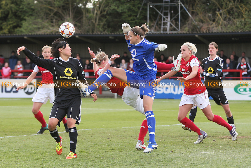 Desiree Schumann in the Frankfurt goal tangles with Ellen White - Arsenal Ladies vs Frankfurt - UEFA Womens Champions League Semi-Final First Leg at Boreham Wood FC - 15/04/12 - MANDATORY CREDIT: Gavin Ellis/TGSPHOTO - Self billing applies where appropriate - 0845 094 6026 - contact@tgsphoto.co.uk - NO UNPAID USE.