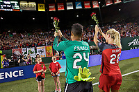 Portland, OR - Saturday May 27, 2017: Adrianna Franch, Amandine Henry during a regular season National Women's Soccer League (NWSL) match between the Portland Thorns FC and the Boston Breakers at Providence Park.