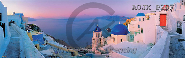 Dr. Xiong, LANDSCAPES, panoramic, photos, Santorini, Greece(AUJXP207,#L#)