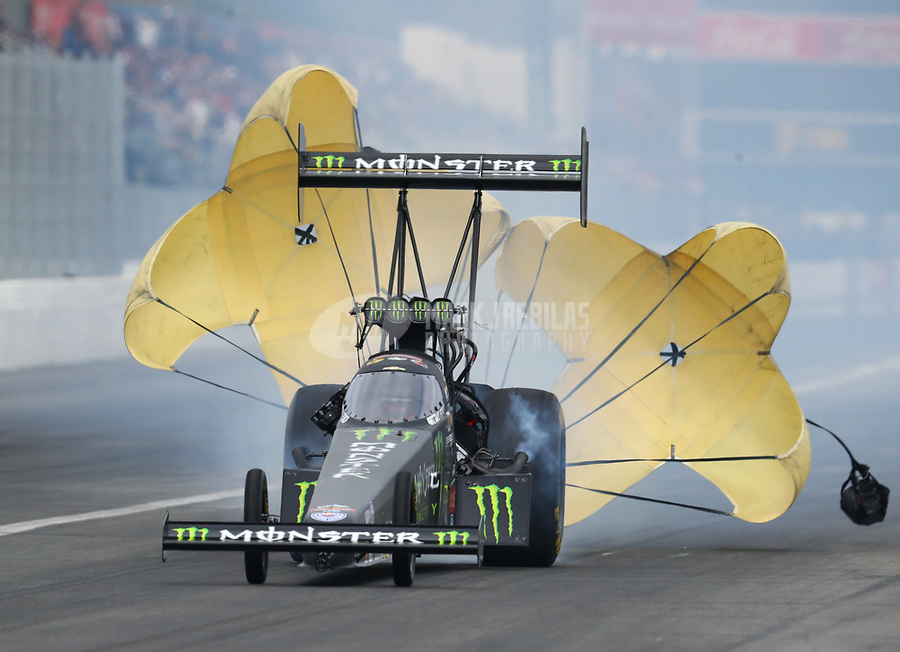 Feb 10, 2018; Pomona, CA, USA; NHRA  top fuel driver Brittany Force during qualifying for the Winternationals at Auto Club Raceway at Pomona. Mandatory Credit: Mark J. Rebilas-USA TODAY Sports
