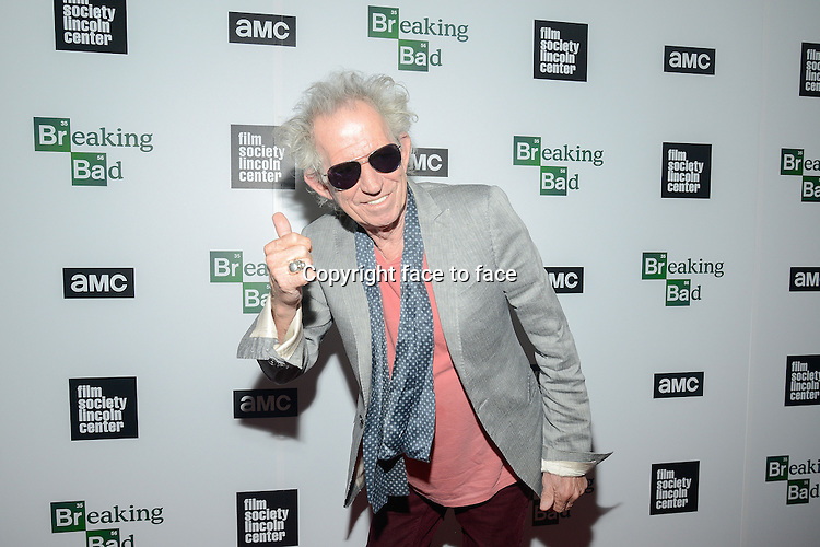 Keith Richards attend The Film Society Of Lincoln Center And AMC Celebration Of 'Breaking Bad' Final Episodes at The Film Society of Lincoln Center, Walter Reade Theatre in New York, 31.07.2013.<br /> Credit: MediaPunch/face to face<br /> - Germany, Austria, Switzerland, Eastern Europe, Australia, UK, USA, Taiwan, Singapore, China, Malaysia, Thailand, Sweden, Estonia, Latvia and Lithuania rights only -