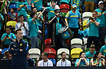 Dias Doskarayev (Captain of the Kazakhstan team, left) watches as the fans celebrate. Rubber 1. World group II play off in the BNP Paribas Fed Cup. Copper Box arena. Queen Elizabeth Olympic Park. Stratford. London. UK. 20/04/2019. ~ MANDATORY Credit Garry Bowden/Sportinpictures - NO UNAUTHORISED USE - 07837 394578