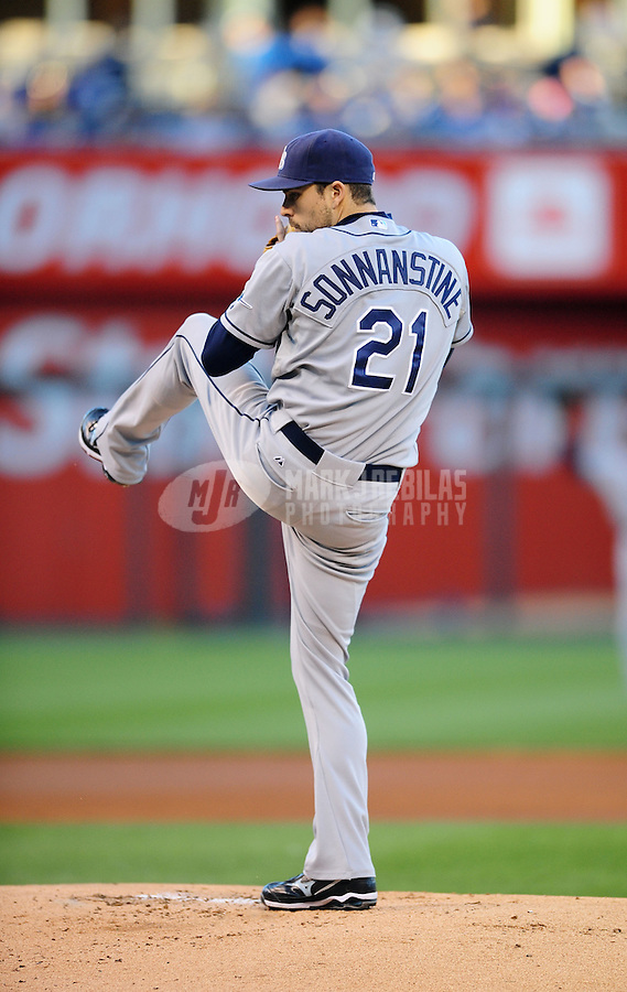 Oct. 2, 2010; Kansas City, MO, USA; Tampa Bay Rays pitcher Andy Sonnanstine against the Kansas City Royals at Kauffman Stadium. Mandatory Credit: Mark J. Rebilas-