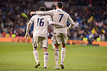 Real Madrid's Cristiano Ronaldo and Mateo Kovacic celebrating a goal during La Liga match between Real Madrid and Real Sociedad at Santiago Bernabeu Stadium in Madrid, Spain. January 29, 2017. (ALTERPHOTOS/BorjaB.Hojas)
