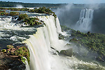 Santa Maria Waterfall at Iguazu Falls National Park in Brazil.  A UNESCO World Heritage Site.  At right is the Mitre Waterfall in Argentina.