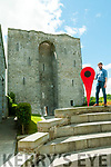 Google Listowel: Damian O'Mahony pictured with the Google Hot spot sign at Listowel castle  prior the tour of Listowel hot spots on Saturday last.