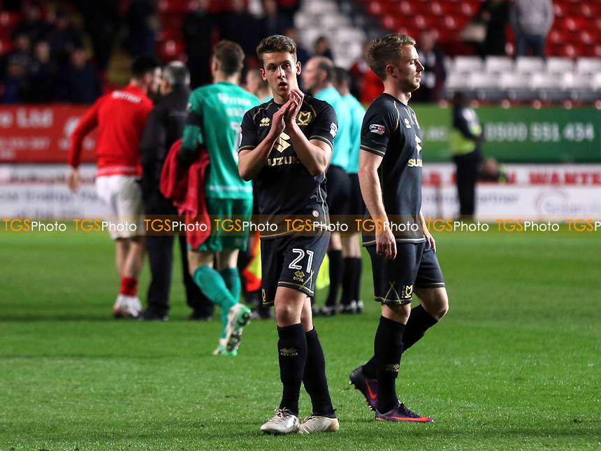 Callum Brittain of MK Dons applauds the away fans at the final whistle during Charlton Athletic vs MK Dons, Sky Bet EFL League 1 Football at The Valley on 4th April 2017