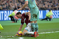 Mark Noble of West Ham United is tickled by Sead Kolasinac of Arsenal during West Ham United vs Arsenal, Premier League Football at The London Stadium on 12th January 2019
