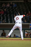 Mesa Solar Sox designated hitter Bobby Dalbec (11), of the Boston Red Sox organization, at bat during an Arizona Fall League game against the Scottsdale Scorpions at Sloan Park on October 10, 2018 in Mesa, Arizona. Scottsdale defeated Mesa 10-3. (Zachary Lucy/Four Seam Images)