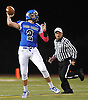 Long Beach quarterback No. 2 Sam Brown throws a pass during a Nassau County Conference II varsity football game against Mepham at Long Beach Middle School on Friday, October 16, 2015. Mepham led 14-0 at halftime.<br /> <br /> James Escher