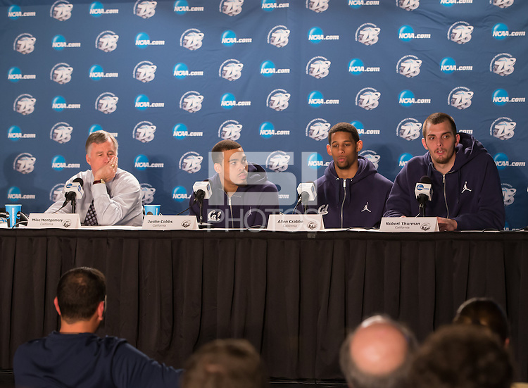 March 21st, 2013: Mike Montgomery, Justin Crabbe and Allen Crabbe listens to Robert Thurman's answers for a reporter during post West Coast Conference Men's NCAA Basketball game against UNLV at HP Pavilion, San Jose, California. California defeated UNLV 64 - 61