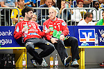 GER - Mannheim, Germany, September 23: During the DKB Handball Bundesliga match between Rhein-Neckar Loewen (yellow) and TVB 1898 Stuttgart (white) on September 23, 2015 at SAP Arena in Mannheim, Germany. Final score 31-20 (19-8) .  Darko Stanic #12 of Rhein-Neckar Loewen, Mikael Alf Appelgren #1 of Rhein-Neckar Loewen<br /> <br /> Foto &copy; PIX-Sportfotos *** Foto ist honorarpflichtig! *** Auf Anfrage in hoeherer Qualitaet/Aufloesung. Belegexemplar erbeten. Veroeffentlichung ausschliesslich fuer journalistisch-publizistische Zwecke. For editorial use only.