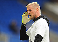 Leicester City's Kasper Schmeichel during the pre-match warm-up <br /> <br /> Photographer Kevin Barnes/CameraSport<br /> <br /> The Premier League -  Cardiff City v Leicester City - Saturday 3rd November 2018 - Cardiff City Stadium - Cardiff<br /> <br /> World Copyright © 2018 CameraSport. All rights reserved. 43 Linden Ave. Countesthorpe. Leicester. England. LE8 5PG - Tel: +44 (0) 116 277 4147 - admin@camerasport.com - www.camerasport.com