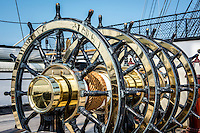 Great Britain, England, London. Portsmouth Historic dockyard. Steering wheels on the HMS Warrior.