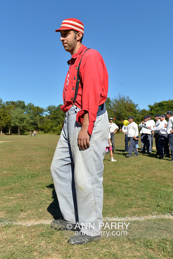 """Old Bethpage, New York, U.S. 29th September 2013.  BRIAN """"GENERAL"""" GRANT, of Seaford, played in the Old Time Base Ball  championship game, where Brooklyn Eckfords beat Brooklyn Excelsiors, at The Long Island Fair. A yearly event since 1842, the county fair is now held at a reconstructed fairground at Old Bethpage Village Restoration."""