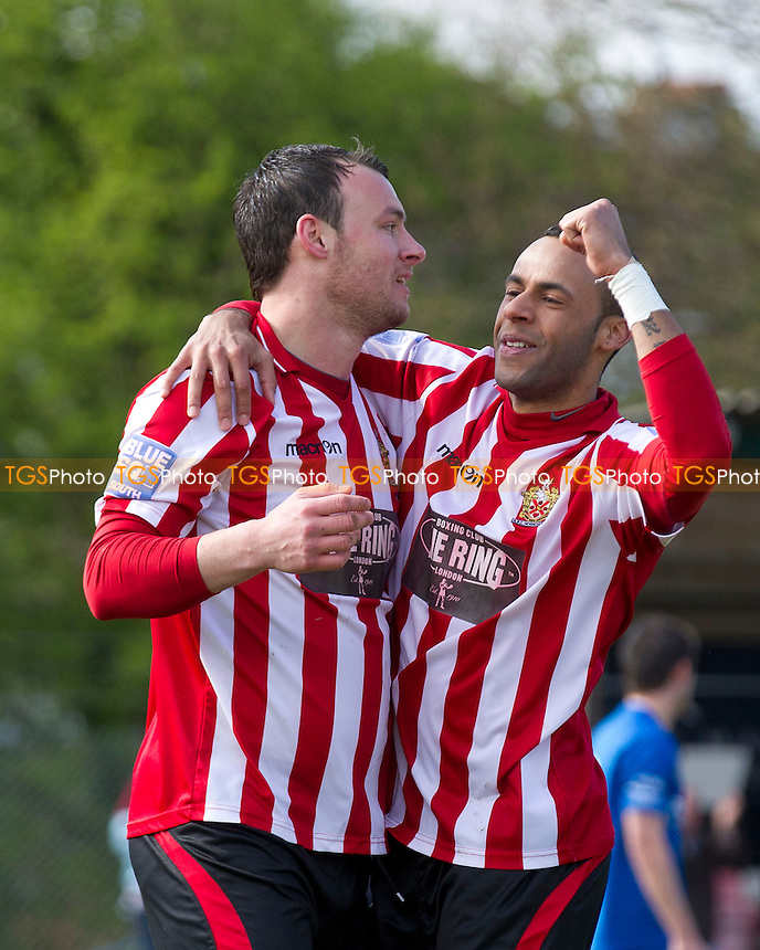 Chris Bourne helps team mate Martin Touhy celebrate his second goal - AFC Hornchurch vs Hayes & Yeading - Blue Square Conference South Football at The Stadium - 27/04/13 - MANDATORY CREDIT: Ray Lawrence/TGSPHOTO - Self billing applies where appropriate - 0845 094 6026 - contact@tgsphoto.co.uk - NO UNPAID USE.