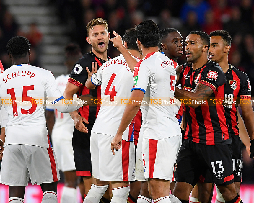 James Tomkins of Crystal Palace points the finger at Simon Francis of AFC Bournemouth during an altercation during AFC Bournemouth vs Crystal Palace, Premier League Football at the Vitality Stadium on 1st October 2018