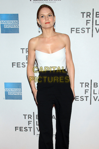 "Jennifer Morrison.The 2012 Tribeca Film Festival World Premiere of ""Knife Fight"" at the Tribeca Performing Arts Center, New York, NY, USA..April 25th, 2012 .half length black white strapless top trousers hands in pockets.CAP/LNC/TOM.©TOM/LNC/Capital Pictures."