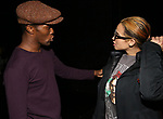 "Jarvis B. Manning and Dascha Polanco backstage after a performance of ""Ain't Too Proud"" at the Imperial Theatre on April 11, 2019 in New York City."