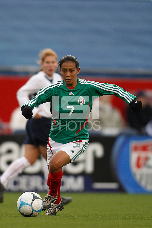 Mexico midfielder (7) Evelyn Lopez. The USA Women's National Team defeated Mexico 5-0 in an international friendly at Gillette Stadium, Foxbourgh, MA, on April 14, 2007.