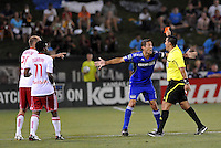 Davy Arnaud receives a red card from referee Ricardo Salazar in stoppage time...Kansas City were defeated 3-0 by New York Red Bulls at Community America Ballpark, Kansas City, Kansas.