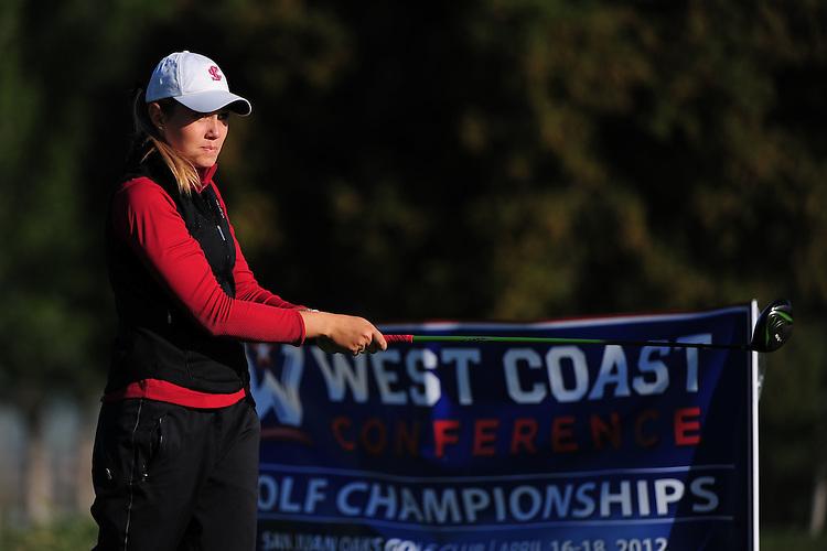 April 17, 2012; Hollister, CA, USA; Santa Clara Broncos golfer Kelsy O'Brien during the WCC Golf Championships at San Juan Oaks Golf Club.