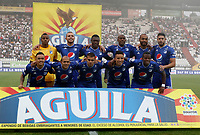 MANIZALES - COLOMBIA, 31-01-2019: Formación de Millonarios ante el Once Caldas.Acción de juego entre los equipos Once Caldas y Milonaros   durante partido por la fecha 2 Liga Águila I 2019 jugado en el estadio Palogrande de la ciudad de Manizales. / Team of Millonarios agaisnt of Once Caldas . Action game between Once Caldas and Millonarios during the match for the date 2 of Aguila League 2019  played at the Palogrande Stadium in Manizales city. Photo: VizzorImage / Santiago Osorio / Contribuidor