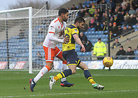 Blackpool's Kelvin Mellor battles with Oxford United's John Mousinho<br /> <br /> Photographer Mick Walker/CameraSport<br /> <br /> The EFL Sky Bet League One - Rochdale v Blackpool - Monday 1st January 2018 - Spotland Stadium - Rochdale<br /> <br /> World Copyright &copy; 2018 CameraSport. All rights reserved. 43 Linden Ave. Countesthorpe. Leicester. England. LE8 5PG - Tel: +44 (0) 116 277 4147 - admin@camerasport.com - www.camerasport.com