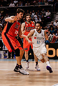 25th March 2018, Madrid, Spain; Endesa Basketball League, Real Madrid versus Valencia; Facundo Campazzo (Real Madrid Baloncesto) brings the ball foward past Tibor Pleiss (Valencia Basket)
