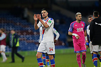 30th November 2019; Turf Moor, Burnley, Lanchashire, England; English Premier League Football, Burnley versus Crystal Palace; Martin Kelly of Crystal Palace applauds the visiting fans after Palace finished 2-0 winners - Strictly Editorial Use Only. No use with unauthorized audio, video, data, fixture lists, club/league logos or 'live' services. Online in-match use limited to 120 images, no video emulation. No use in betting, games or single club/league/player publications