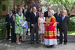 Spanish King Juan Carlos, Spanish Queen Sofia and Mexican journalist Elena Poniatowska pose after a ceremony to present Poniatowska the 2013 Cervantes Prize Literature prize at Alcala University in Madrid, Spain. April 23, 2014. (ALTERPHOTOS/Victor Blanco)