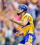 Shane O Donnell of Clare celebrates his goal during their All-Ireland semi-final replay at Semple Stadium,Thurles. Photograph by John Kelly.