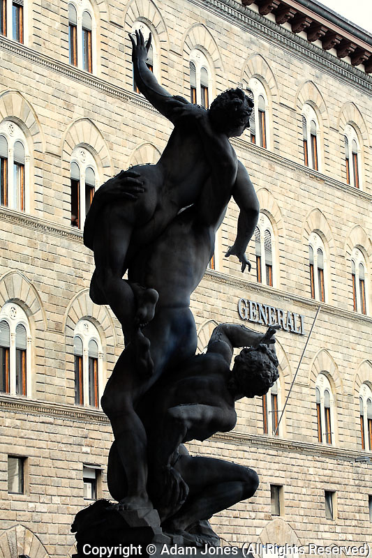 The Rape of the Sabine Women by Giambologna, in the Loggia dei Lanzi in Florence, Italy