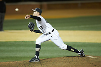 Wake Forest Demon Deacons relief pitcher Tyler Witt (12) delivers a pitch to the plate against the Florida State Seminoles at David F. Couch Ballpark on March 9, 2018 in  Winston-Salem, North Carolina.  The Seminoles defeated the Demon Deacons 7-3.  (Brian Westerholt/Four Seam Images)