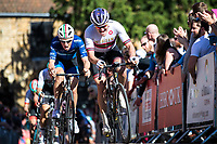 Picture by Alex Whitehead/SWpix.com - 14/05/2017 - Cycling - 2017 HSBC UK   Spring Cup Road Series - Lincoln Grand Prix - Team Wiggins' Sam Harrison and Bike Channel Canyon's x climb Michaelgate cobbles.