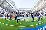 Stockholm 2014-04-27 Fotboll Allsvenskan Djurg&aring;rdens IF - IF Brommapojkarna :  <br /> Djurg&aring;rdens Emil Bergstr&ouml;m med lagkamrater jublar framf&ouml;r Djurg&aring;rdens publik efter matchen<br /> (Foto: Kenta J&ouml;nsson) Nyckelord:  Djurg&aring;rden DIF Tele2 Arena Brommapojkarna BP jubel gl&auml;dje lycka glad happy