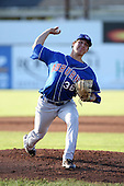 Auburn Doubledays Starting Pitcher Asher Wojciechowski (36), Blue Jays first round pick, delivers a pitch during a game vs. the Batavia Muckdogs at Dwyer Stadium in Batavia, New York July 2, 2010.   Batavia defeated Auburn 6-3.  Photo By Mike Janes/Four Seam Images
