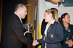 Mark Hayward from ASB presents Annalie Longo with the Sportswoman of the Year Award. ASB College Sport Young Sportperson of the Year Awards 2007 held at Eden Park on November 15th, 2007.